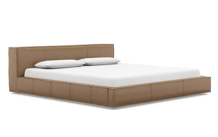 Gray King & California King Leather Bed Frame - Interior Define
