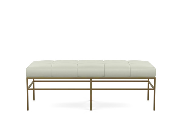 Ferri Leather-Upholstered Bench with Metal Legs | Ethan Allen