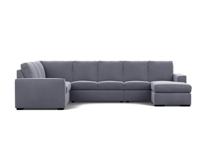 new arrival 48347 4db06 7 Seater Corner Modular Lounge with Reversible Chaise - Fabric / Alice  Carbon Steel