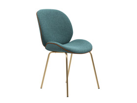 Dining Chair Beetle  Pool Turquoise with Leather Piping