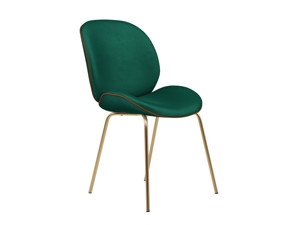 Dining Chair Beetle  Emerald Green Velvet with Leather Piping