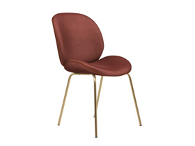 Dining Chair Beetle  Nostalgia Pink Velvet with Leather Piping