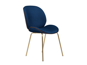 Dining Chair Beetle  Eclipse Blue Velvet with Leather Piping