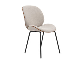 Dining Chair Beetle  Plaster Beige with Leather Piping