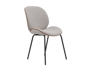 Dining Chair Beetle Cement Grey with Leather Piping