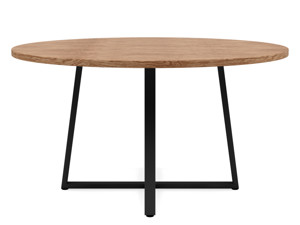 6-8 Seater Oak Round Dining Table Ansa Walnut Finish
