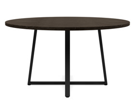 6-8 Seater Oak Round Dinng Table Ansa Intense Black