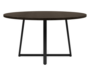 6-8 Seater Oak Round Dining Table Ansa Intense Black