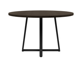 4-6 Seater Oak Round Dinng Table Ansa Intense Black