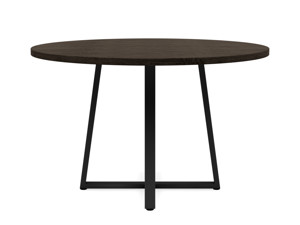 4-6 Seater Oak Round Dining Table Ansa Intense Black