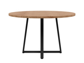 4-6 Seater Oak Round Dining Table Ansa Walnut Finish