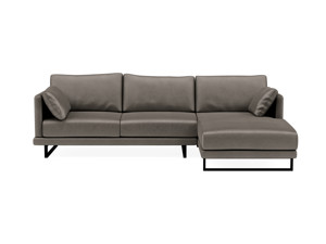 Ritz Corner Chaise Couch - Silver Lining Grey Velvet