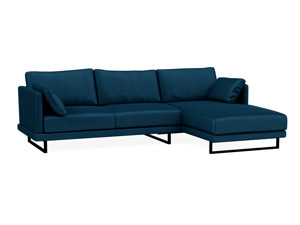 Ritz Corner Chaise Couch - Peacock Blue Velvet