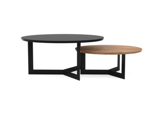 Coffee Table Set Toba Satin Black & Walnut Oak
