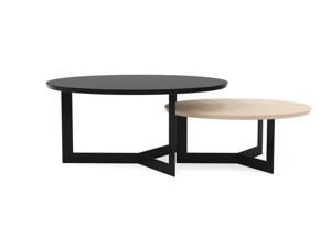 Coffee Table Set Toba Satin Black & White Oak