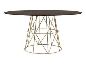 6-8 Round Seater Dining Table Tessu Intense Black Top Gold Legs