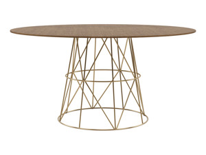 6-8 Round Seater Dining Table Tessu Vintage Brown Top Gold Legs