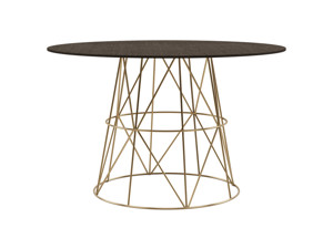 4-6 Round Seater Dining Table Tessu Intense Black Top Gold Legs