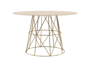 4-6 Round Seater Dining Table Tessu Oak Top Gold Legs