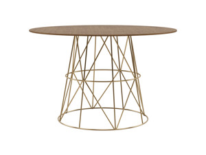 4-6 Round Seater Dining Table Tessu Vintage Brown Top Gold Legs
