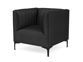 One Seater Couch Paven Phantom Black Velvet