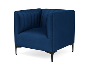 One Seater Couch Paven Eclipse Blue Velvet