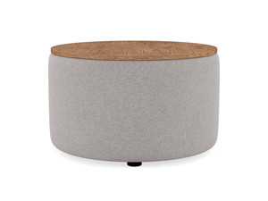 Coffee Table Culla Cement Fabric with Walnut Top