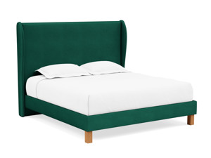 Platform Bed Solar Emerald Green Velvet