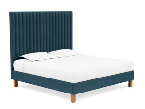 Platform Bed Sirius Adriatic Blue Velvet