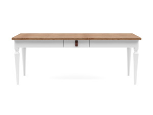 6-8 Seater Dining Table Nimbus Walnut Top White Legs