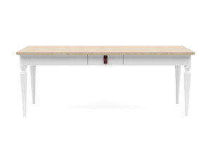6-8 Seater Dining Table Nimbus Oak Top White Legs