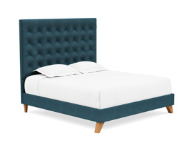Platform Bed Orion Adriatic Blue Velvet